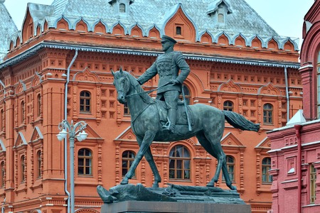 Moscow, Russia – August 14, 2017: Equestrian monument to Marshal of the Soviet Union Georgy Zhukov on the background of the Historical Museum
