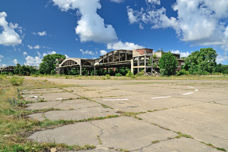 View of the old ruined airfield on the Baltic spit. Kaliningrad Region, Russia