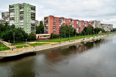 Kaliningrad, Russia - 18 August 2016: townspeople walk through new quay on the street of Admiral Tributs on the banks of the Pregolya river Editorial