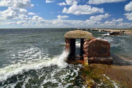 Remains of the old German West fort. Baltic Spit, Kaliningrad region, Russia