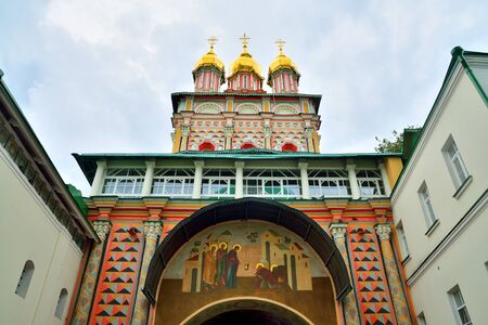 Sergiev Posad, Moscow region, Russia - August 15, 2019: Trinity-Sergiev Lavra, most important Russian monastery, Church of the Nativity of St. John the Baptist