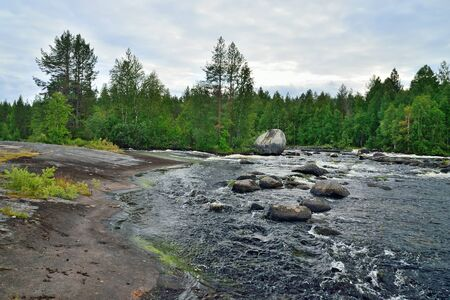 Beautiful threshold Schelye on the Onda river, Karelia, Russia Stock Photo - 145074409