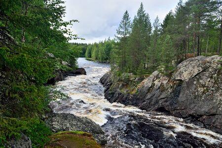 Beautiful Kiviristi threshold on the Ohta river. Karelia, Russia Stock Photo - 145606553