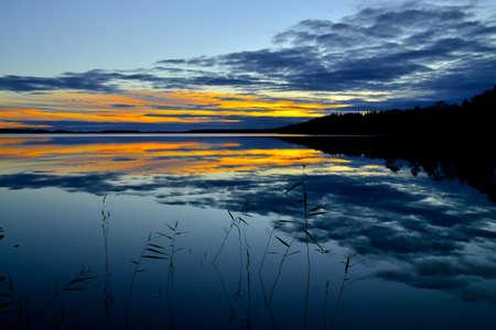 Romantic twilight on lake Keret, Northern Karelia, Russia