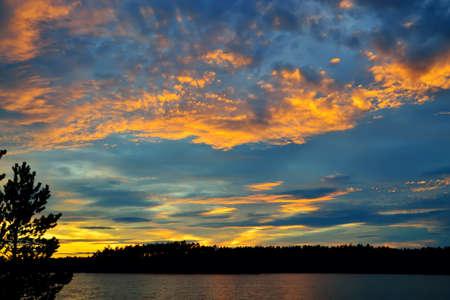 Wonderful sunset on lake Keret, Northern Karelia, Russia