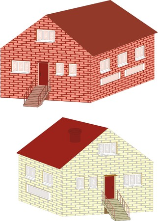 low floor: brick small house isolated Illustration