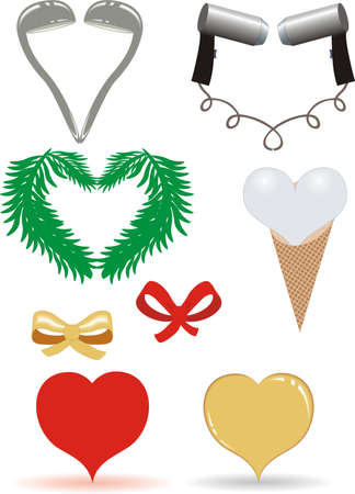 ladles: hearts from fir branches, ladles, hairdryers, gold and red bows