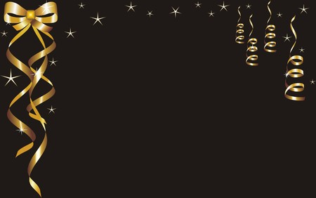 christmas and new year card  with gold tapes on a black background