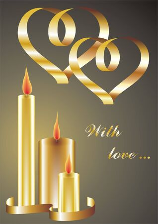 candlelit: valentines background with hearts and candles            Illustration