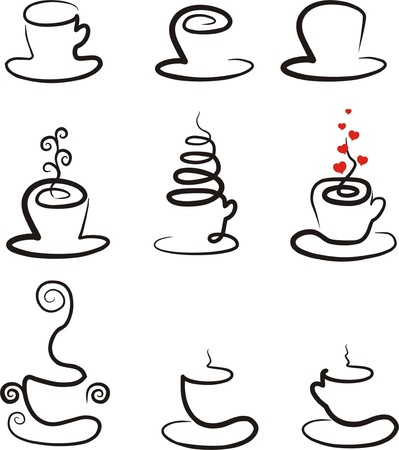 Vector set of coffee and tea cups Stock Vector - 8566090