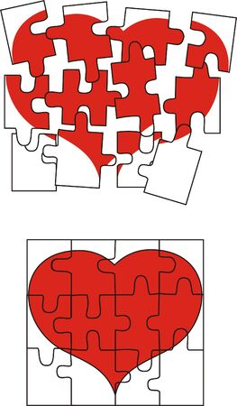 puzzle heart: valentine heart puzzle