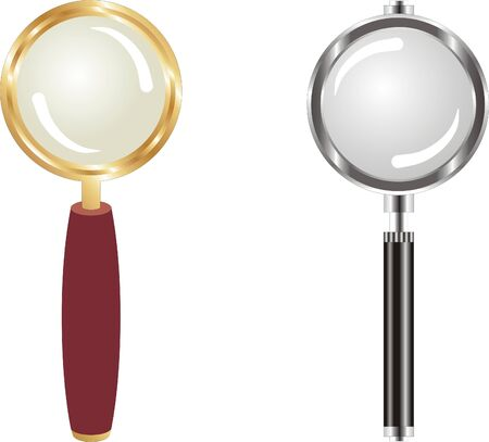 gold and metal magnifying lens Stock Vector - 8613995