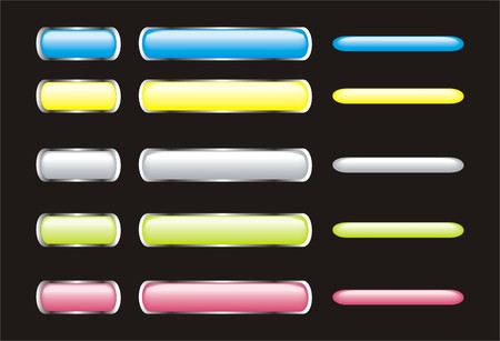 set of neon glossy buttons