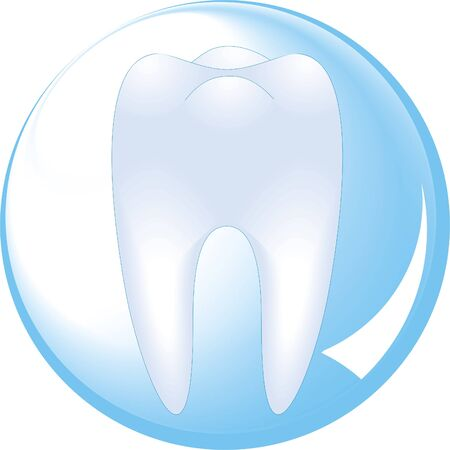 tooth is protected by a glass sphere, dentistry                Vector