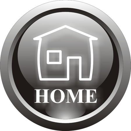 black home  button Stock Vector - 8737442