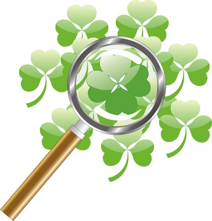 four fourleaf: luck search -  four leaf of clover or shamrock under  magnifying glass