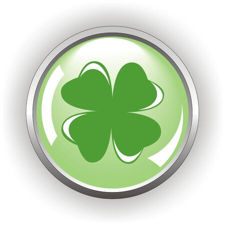 clover or shamrock button  for St Patrick's day                                    Vector
