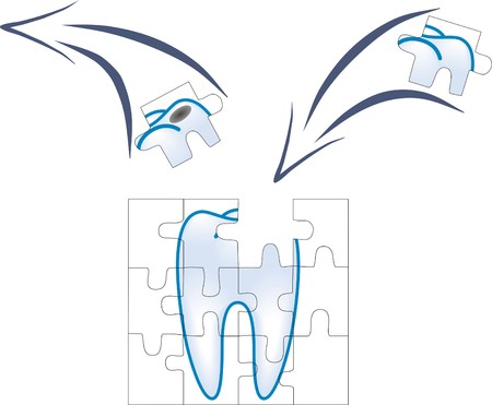 damaged: dental care of tooth piece with caries in puzzle concept