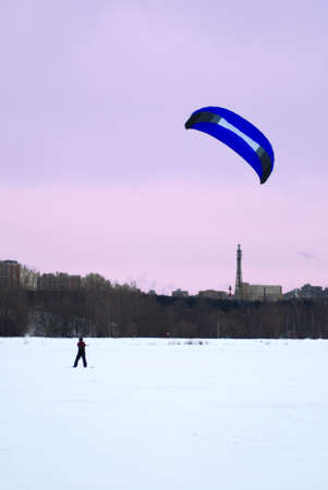 snowkiting on a frozen lake         Stock Photo - 9177087