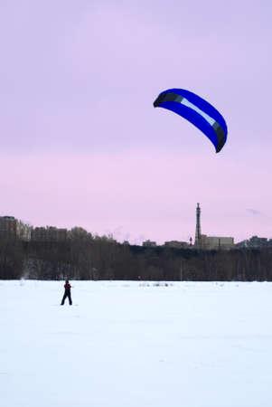 snowkiting: snowkiting on a frozen lake