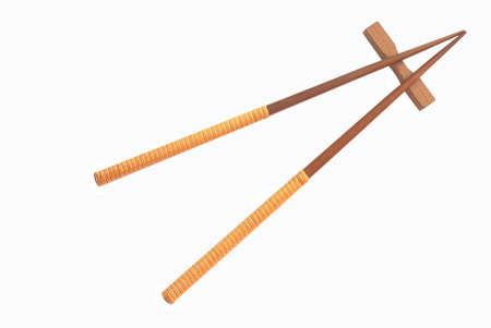 Chopsticks isolated on white photo
