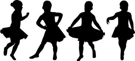 toddler girls:  silhouette girl dansing isolated on white background