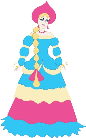 russian princess  - cartoon illustration of a beautiful girl                 Vector