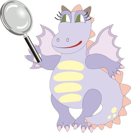 Cartoon dragon with magnifying glass, chinese symbol of 2012 Vector