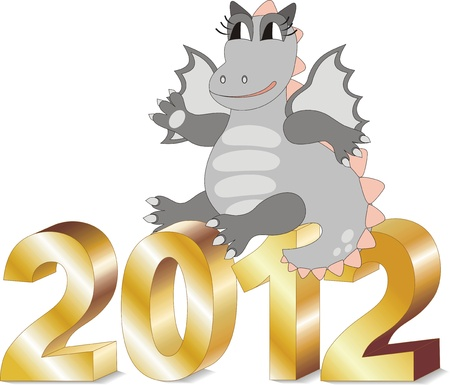 Cartoon dragon sitting on gold letters 2012. Vector