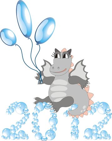 Cartoon dragon with balloons sitting on bubbles 2012 Vector