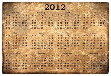 old grunge calendar 2012 photo