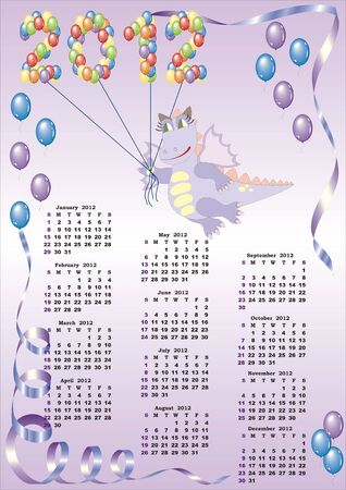 calendar 2012  with cartoon dragon and balloons in vector Stock Vector - 10912751
