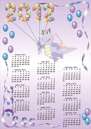 calendar 2012  with cartoon dragon and balloons in vector Stock Vector - 10912751