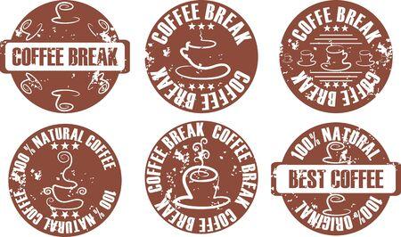 vector grunge coffee stamp set
