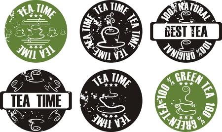 vector grunge tea stamp set