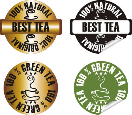 vector tea stamp set Stock Vector - 10998630