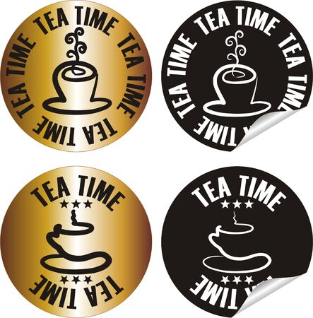 tea time: vector tea time stamp set Illustration