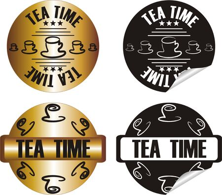 vector tea time stamp set Stock Vector - 10998632