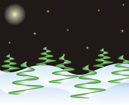 winter night in vector  Stock Vector - 11104973
