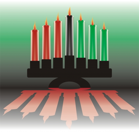 seven kwanzaa candles Illustration