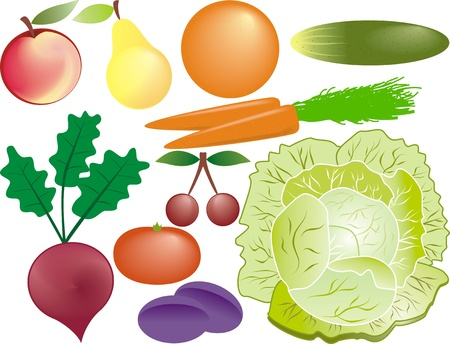fruits and vegetables set Stock Vector - 11229238