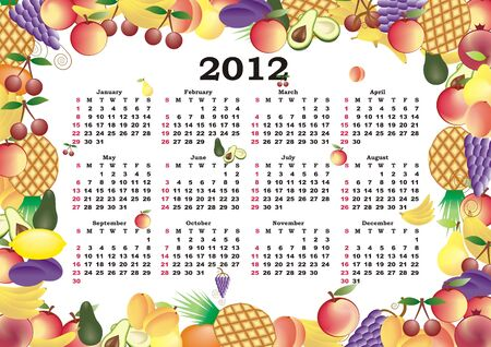 vector calendar 2012 in colorful frame Stock Vector - 11354941