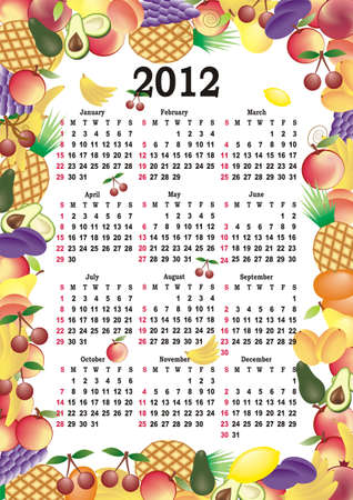 vector calendar 2012 in colorful frame Vector