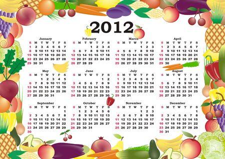 vector calendar 2012 in colorful frame Stock Vector - 11354939