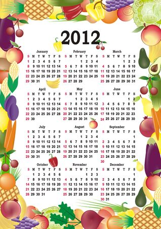 vector calendar 2012 in colorful frame Stock Vector - 11354938