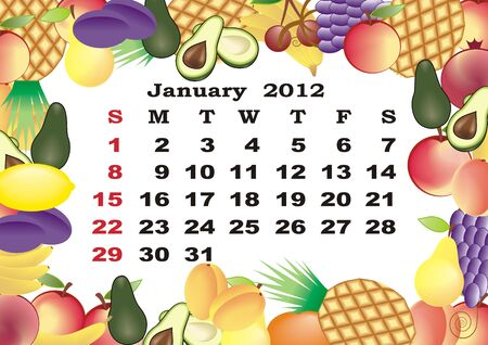 January - monthly calendar 2012 in colorful frame Stock Vector - 11354932