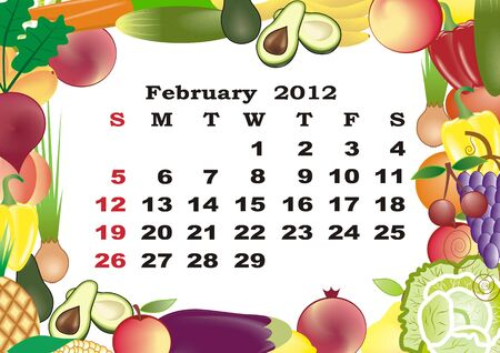 February - monthly calendar 2012 in colorful frame Stock Vector - 11354927