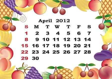 dates fruit: Abril - 2012 calendario mensual en el marco de colorido Vectores