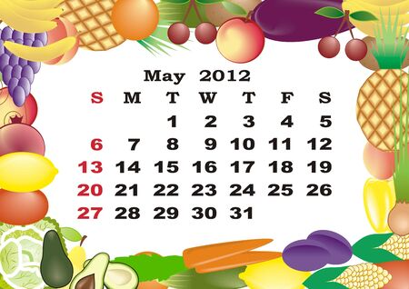 monthly calendar: May - monthly calendar 2012 in colorful frame
