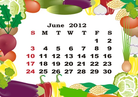 June - monthly calendar 2012 in colorful frame Stock Vector - 11354926